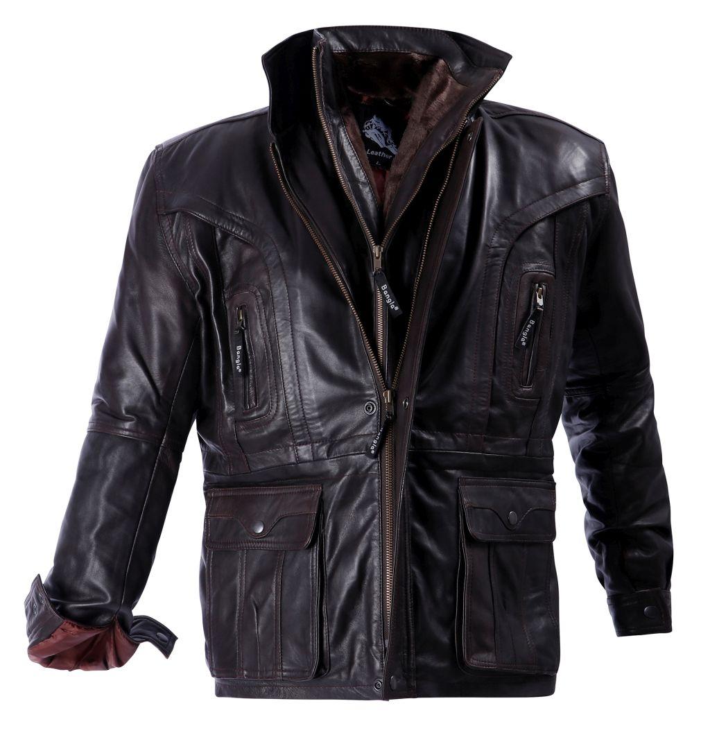Bangla Herren Lederjacke Elegant Winter Jacke gefüttert braun M - 6 XL