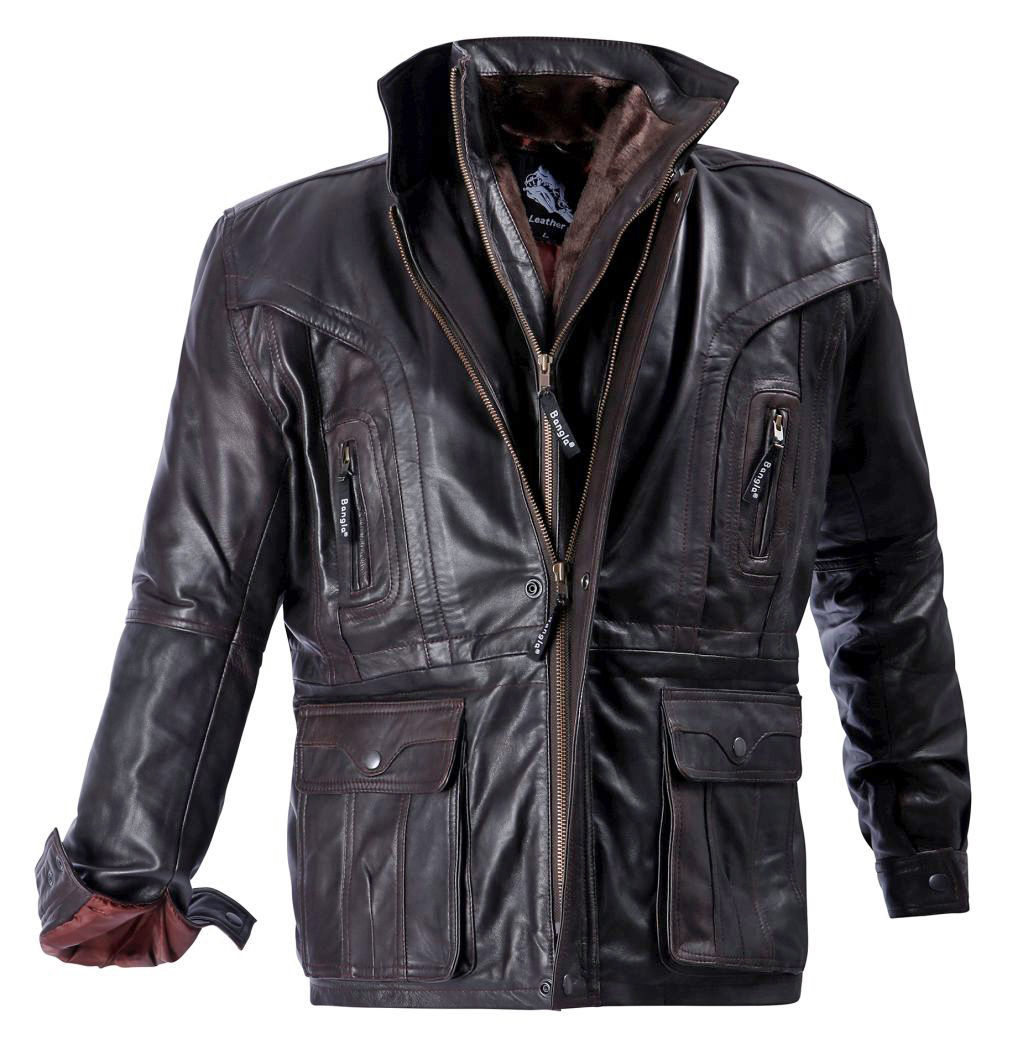 Herren Jacke Elegante Lederjacke Winter gefüttert Leder Braun M - 7 XL