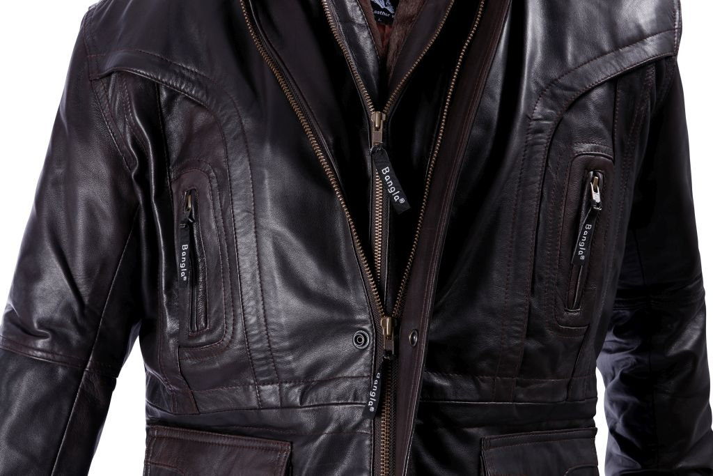 Elegante Lederjacke Herren Jacke Winter Leder M L XL XXL - 6 XL BRAUN