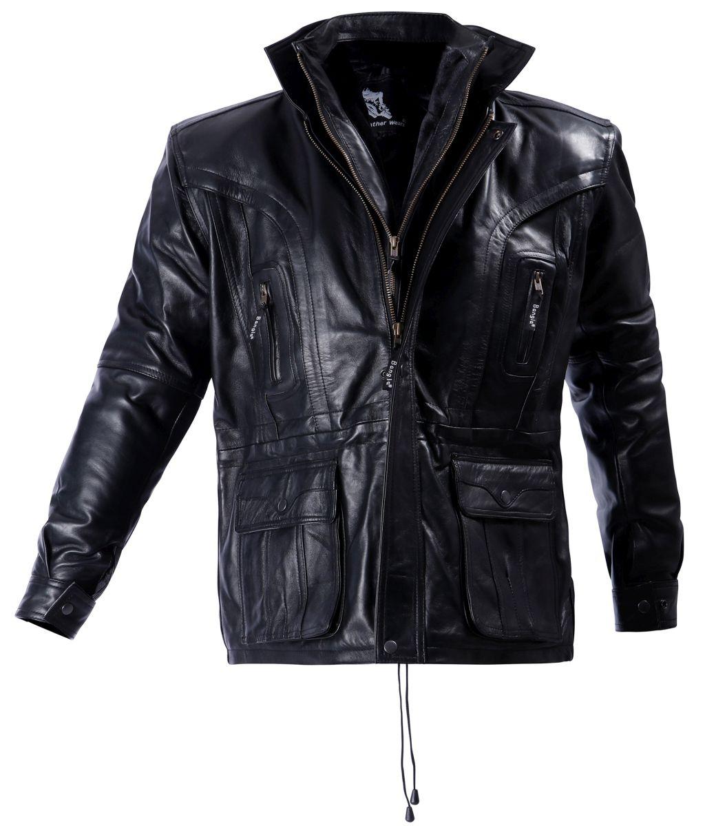 Bangla Elegante Winter Lederjacke Leder Jacke Herren Schwarz M - 6 XL