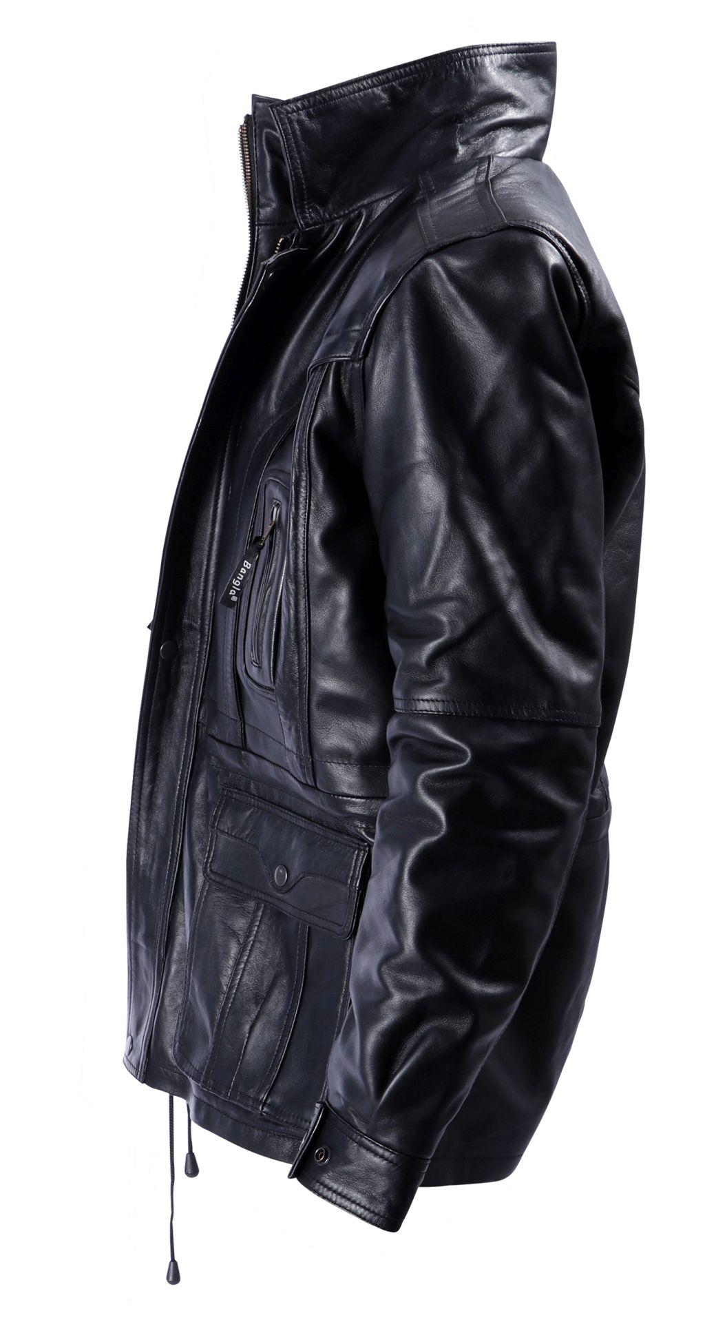 Elegante Winter Lederjacke Leder Herren Jacke Leder schwarz M - 6 XL