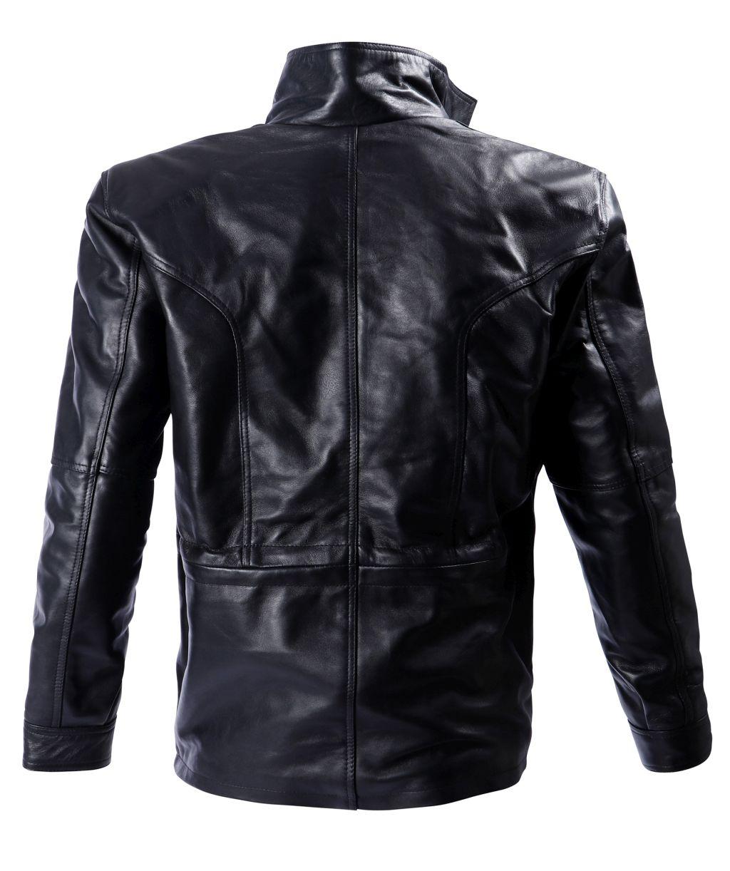 Bangla Elegante Winter Lederjacke Leder Jacke Herren Schwarz M - 7 XL