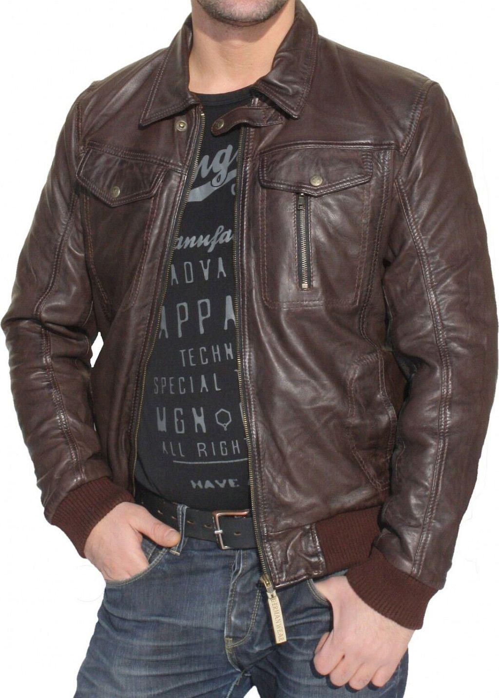 Herren Lederjacke Leder Jacke aus Lamm Nappa Leder dunkelbraun M - 5 XL