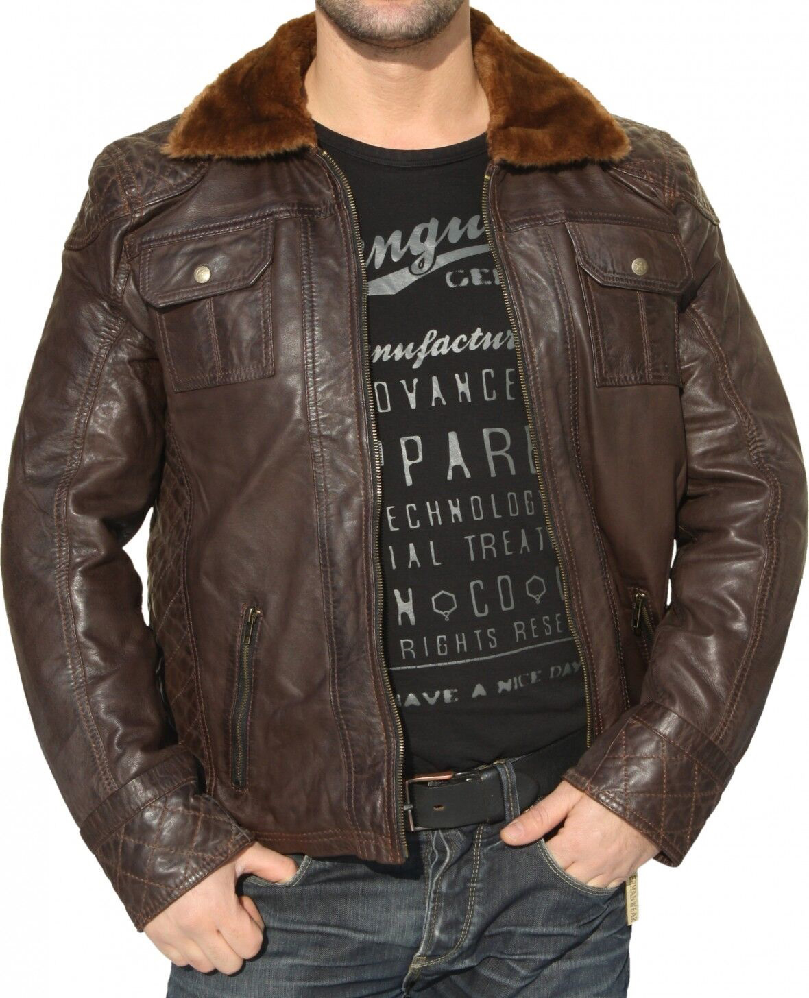 Herren Lederjacke Jacke aus Lamm Nappa Leder Braun Pelzkragen 48 - 60 / M - 5 XL