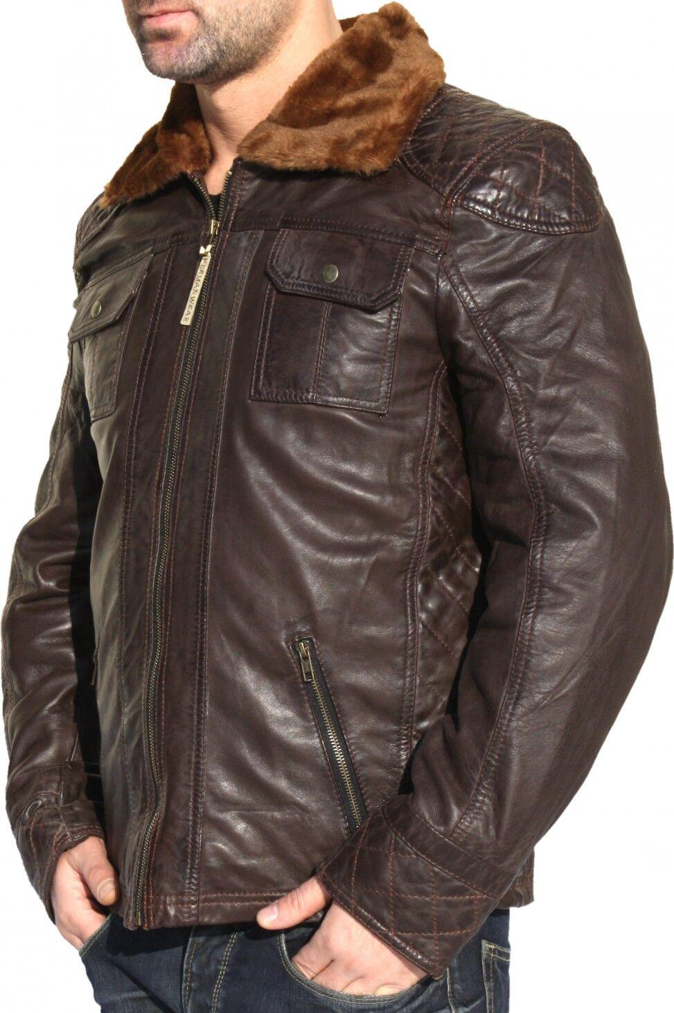 Lederjacke Jacke aus Lamm Nappa Leder Braun mit Pelzkragen 48 - 60 / M - 5 XL