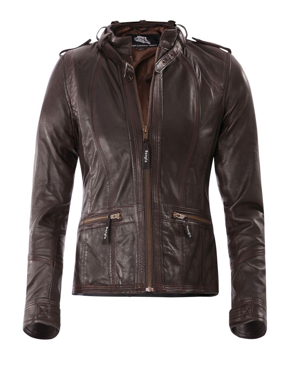 Damen Lederjacke Jacke mit Stehkragen Bangla 14395 Braun  36 38 40 42 44