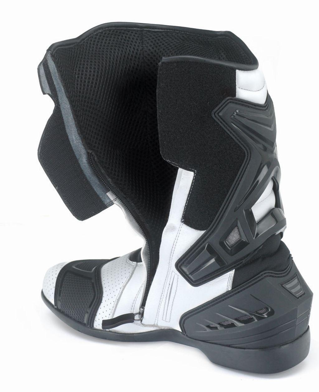 Motorrad Sportstiefel Stiefel Schwarz Leder Aragon weiss/schwarz 40 - 48