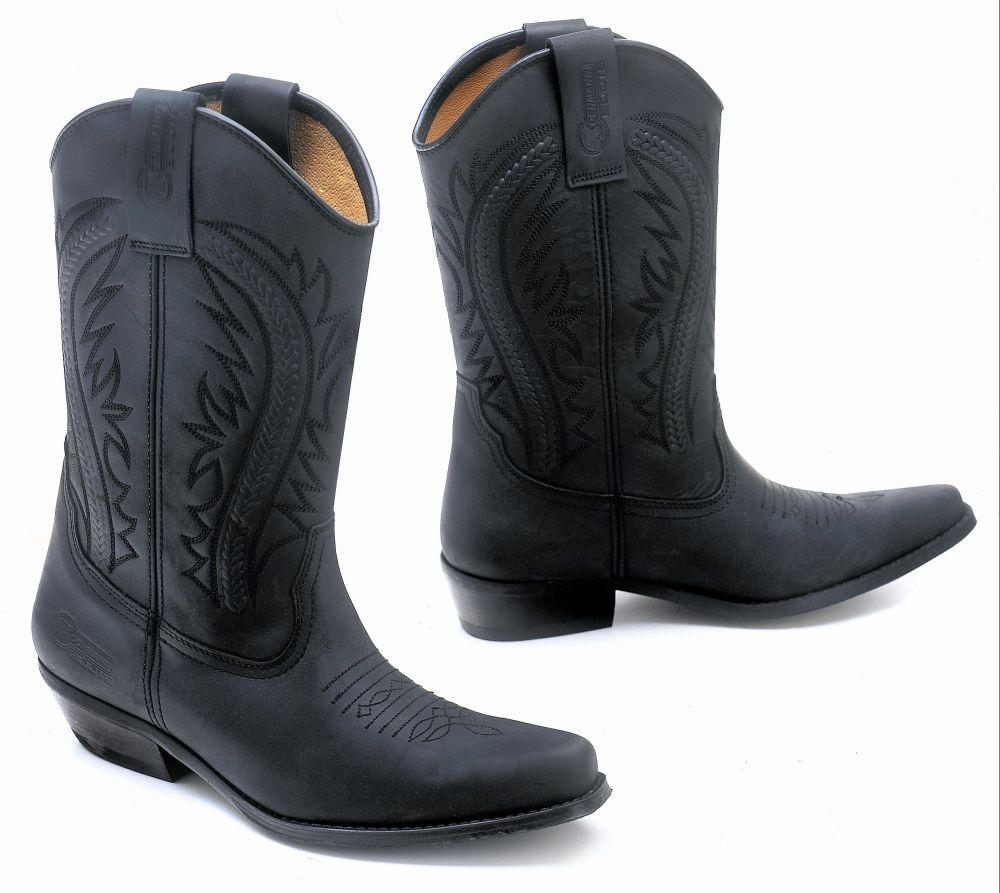 Westernstiefel Boot Motorrad Stiefel Cowboy Leder Schwarz Gr 36 - 46