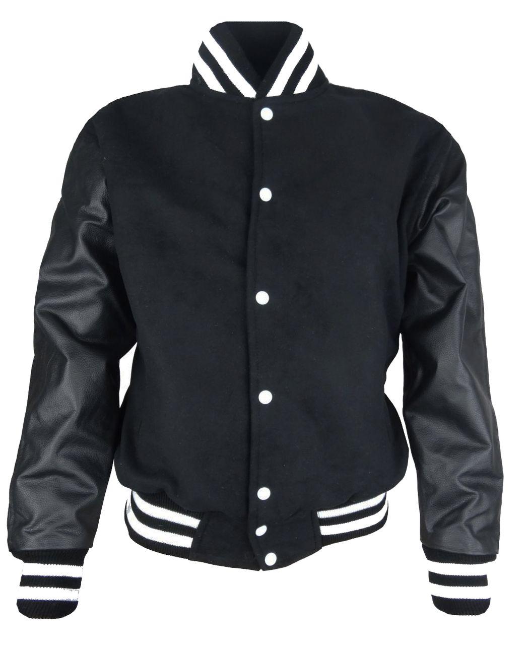 Herren College Jacke Sweat Jacke mit Leder Ärmel Schwarz S - 5 XL