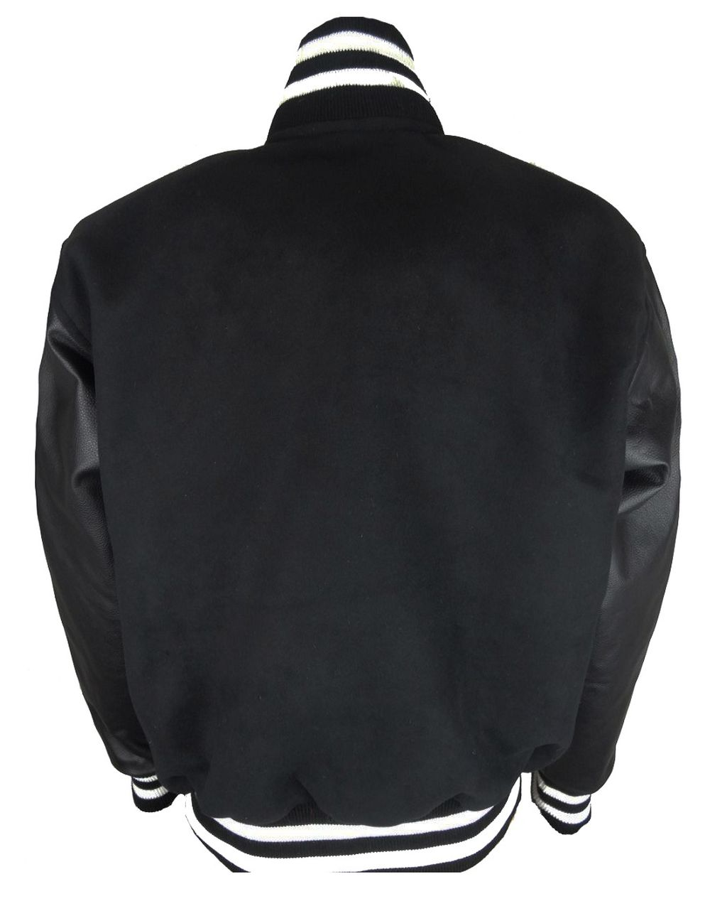 Herren College Jacke Sweat Jacke mit Leder Ärmel Schwarz XS - 6 XL