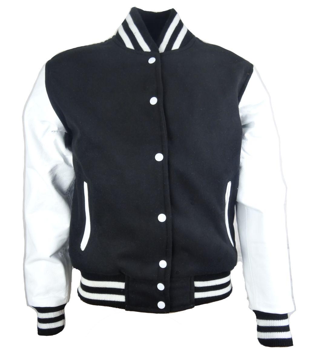 Damen College Jacke Sweatjacke mit Leder Schwarz-Weiß Gr. S M L XL