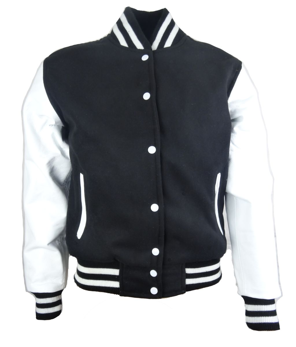 Herren College Baseball Jacke Sweat Jacke Lederarme Schwarz-Weiß S - 6 XL