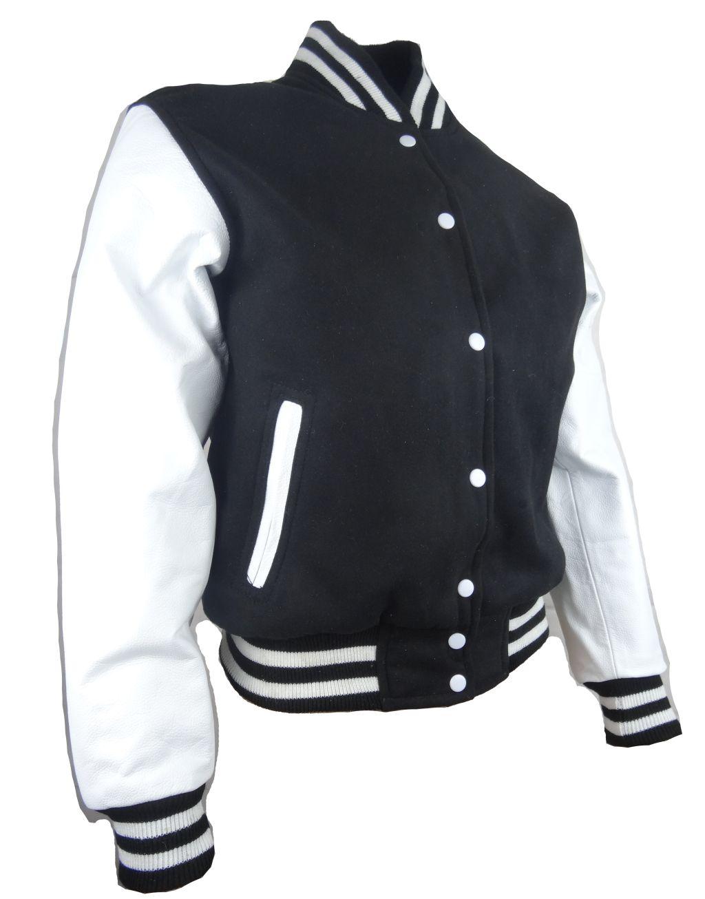 Damen College Jacke Sweat Jacke Ärmel aus  Leder Schwarz-Weiß Gr. S M L XL