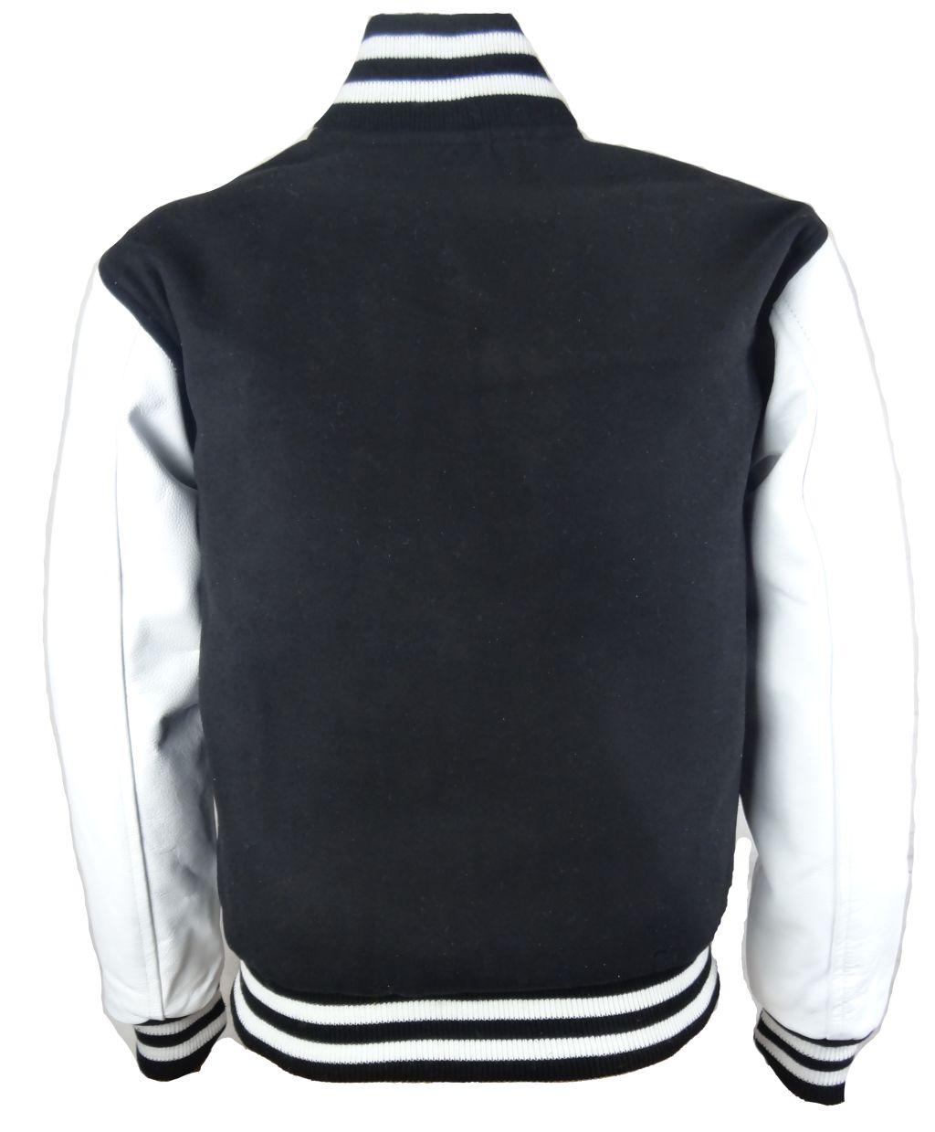 Herren College Jacke Sweat Jacke Leder Schwarz-Weiß S - 5 XL
