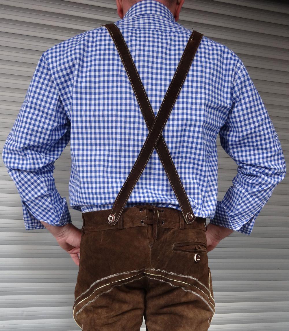 Trachtenhemd Trachten Hemd Herren karo blau weiss kariert Grösse M - 4 XL