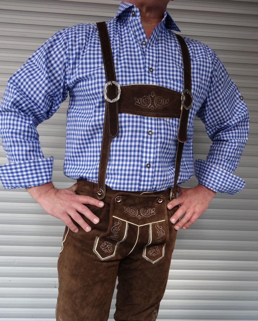 Herren Trachtenhemd blau weiss kariert Grösse M - 4 XL NEU