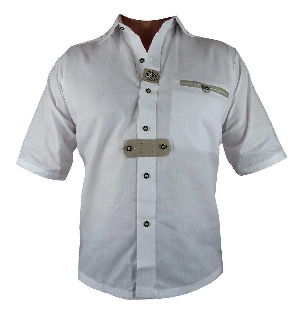 Bangla Trachtenhemd Herren kurzarm weiss Stickereien Grösse S - 4 XL NEU