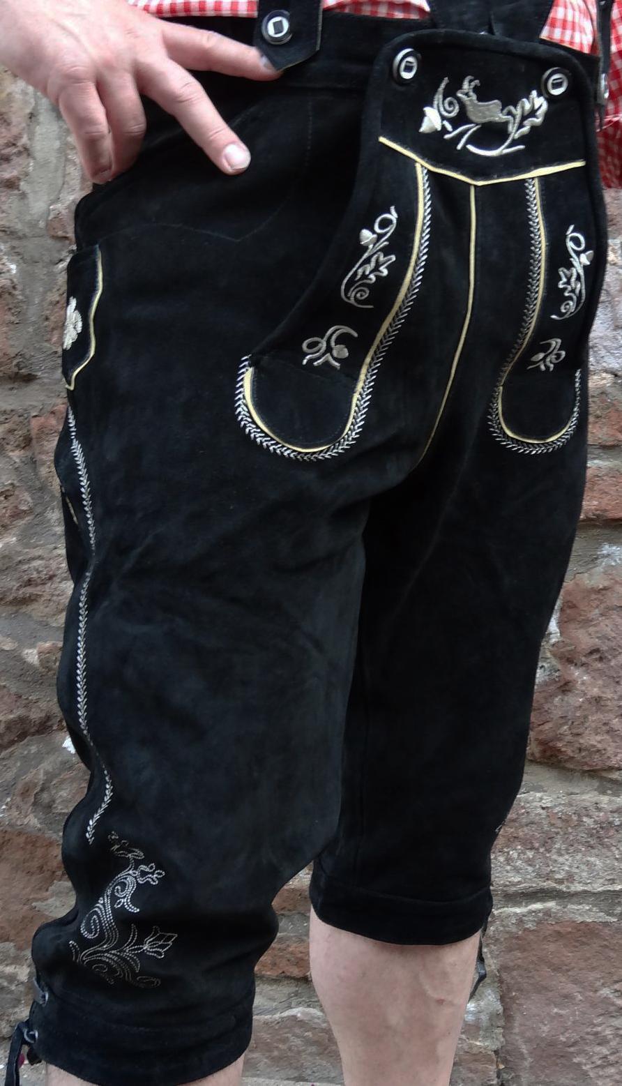 Bangla Herren Trachten Lederhose Kniebund schwarz Grösse 48 - 68 NEU