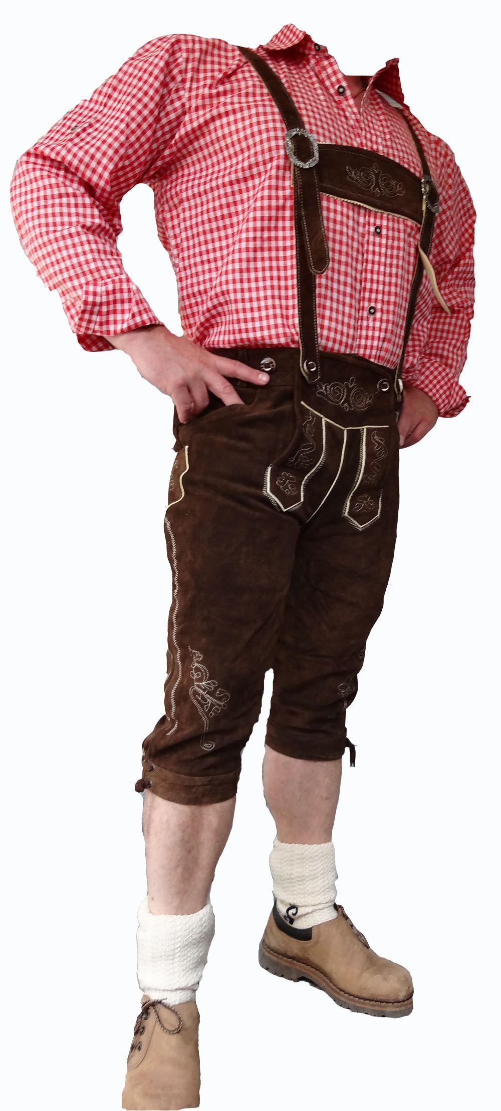 Trachten Lederhose Wildleder braun Steg Hosenträger Oktoberfest 46 - 64