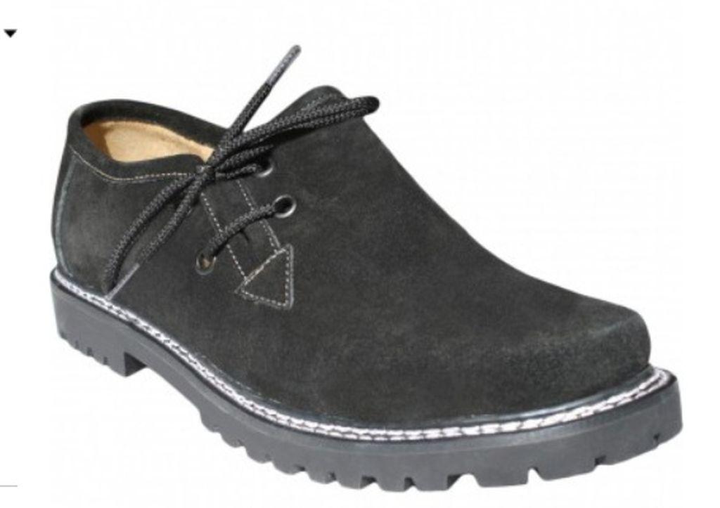 Kinder Trachtenschuhe Haferlschuhe Trachten Schuhe Velourleder Schwarz Gr 28-35