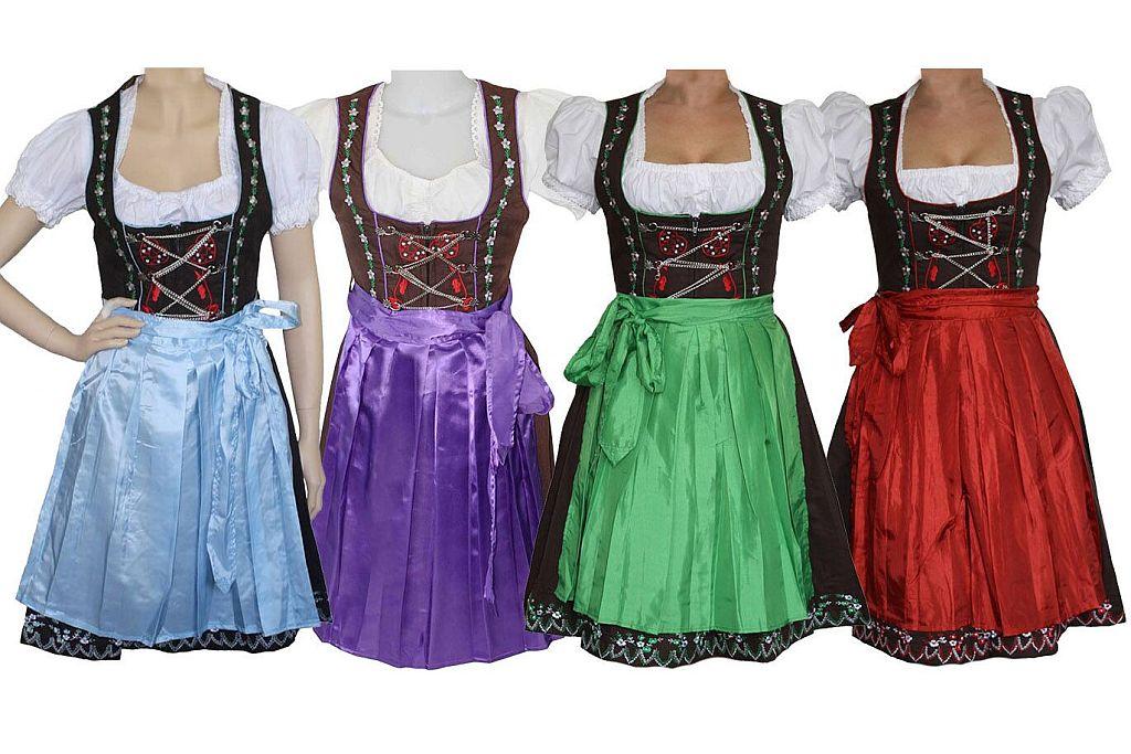 Trachtenkleid Midi Dirndl hellblau grün rot lila mit Schürze und Bluse 3 teilig