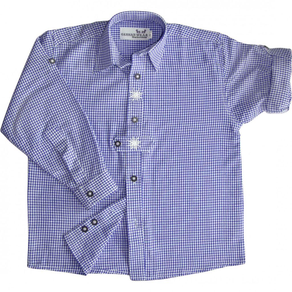 Kinder Trachtenhemd Trachten Hemd blau weiss kariert langarm 104 - 170