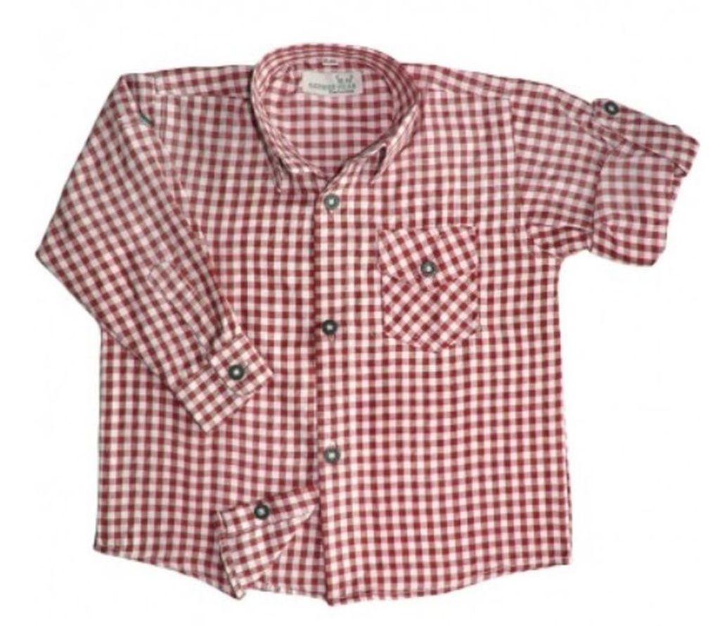 Jungen Kinder Trachtenhemd Trachten Hemd rot weiss kariert langarm 104 - 170