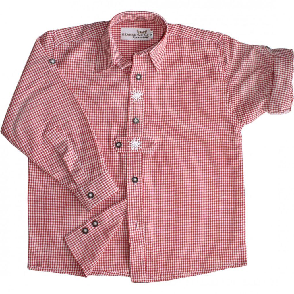 Kinder Trachtenhemd Trachten Hemd rot weiss kariert langarm 104 - 170