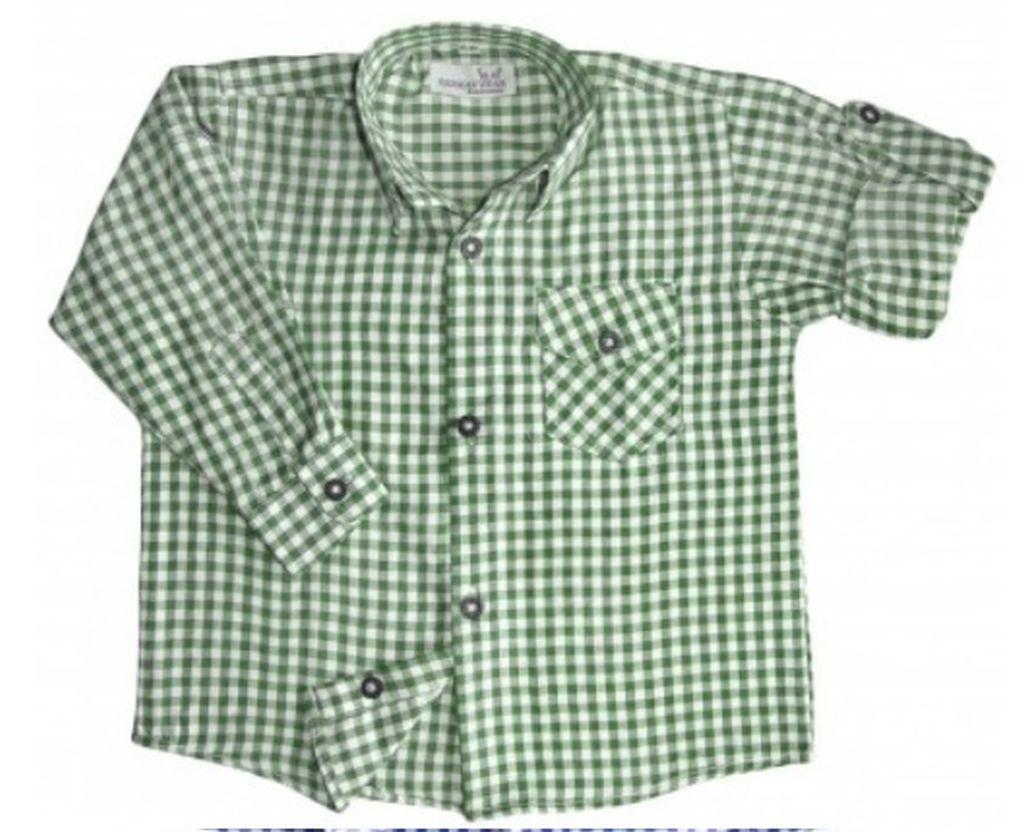 Kinder Trachtenhemd Trachten Hemd grün weiss kariert langarm 104 - 176