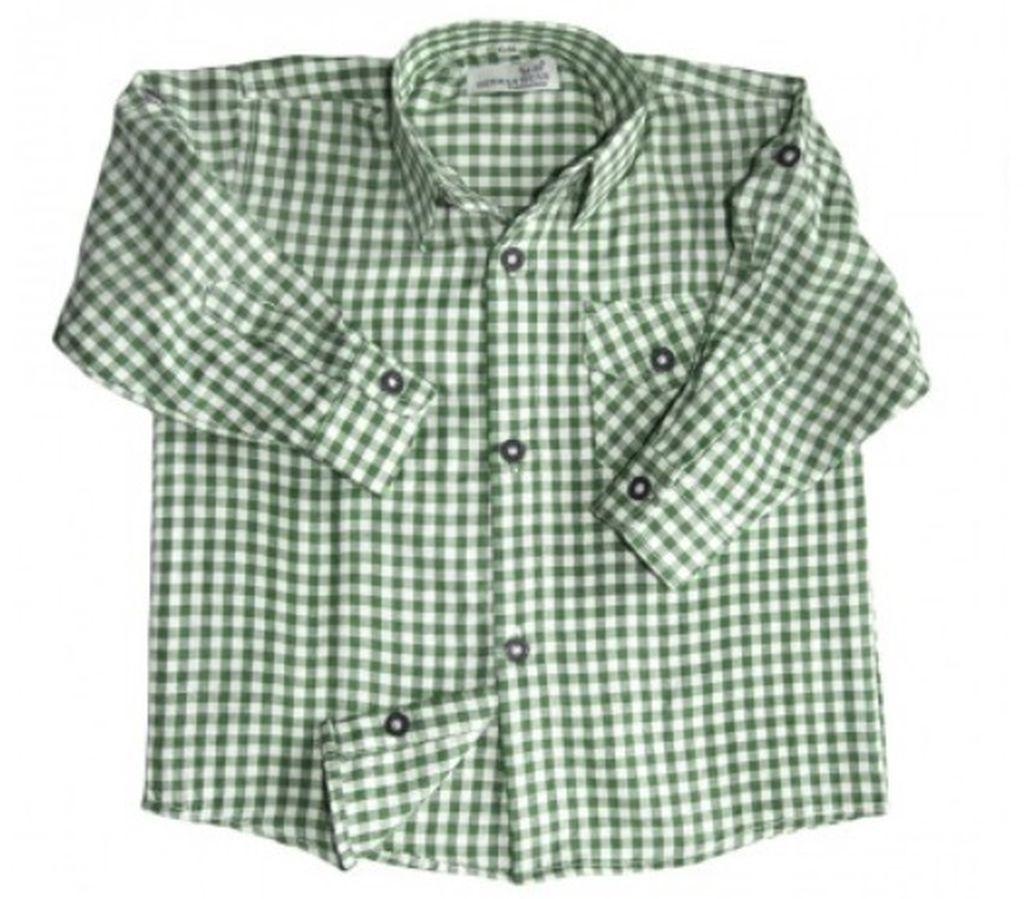 Kinder Jungen Trachtenhemd Trachten Hemd grün weiss kariert langarm 104 - 176