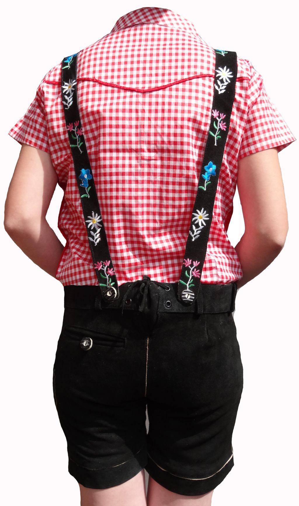 Trachten Lederhose Damen kurz schwarz Hosenträger 36 38 40 42 44