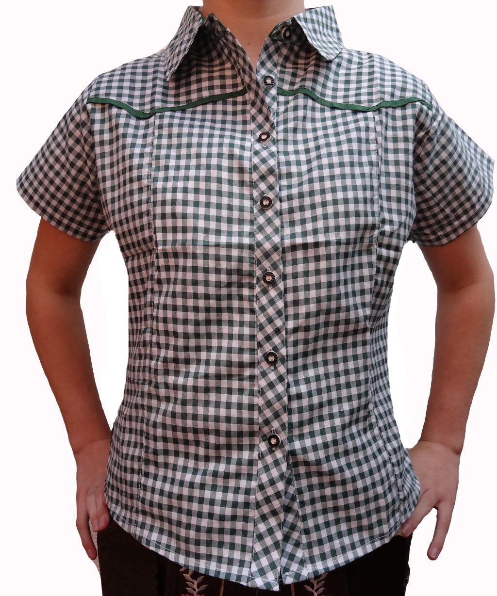 Damen Trachtenbluse Trachten Hemd Dirndl Lederhose grün-weiss 36 38 40 42 44
