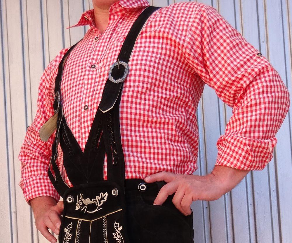 Trachtenhemd Trachten Hemd Herren karo rot weiss kariert Grösse S - 4 XL