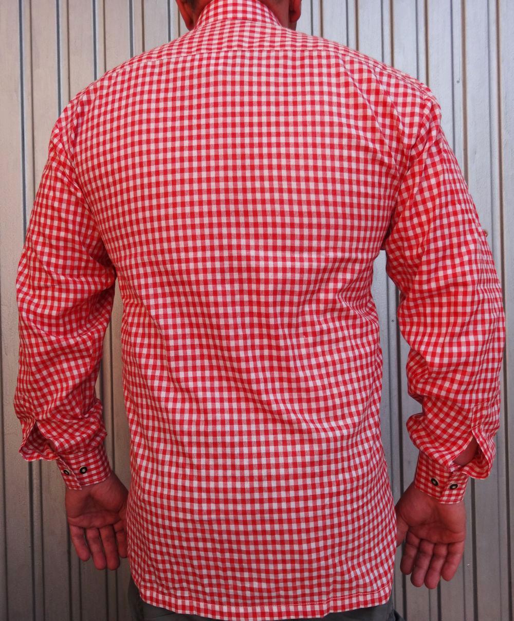 Herren Trachtenhemd rot weiss kariert Grösse S M L XXL 3 XL 4 XL NEU