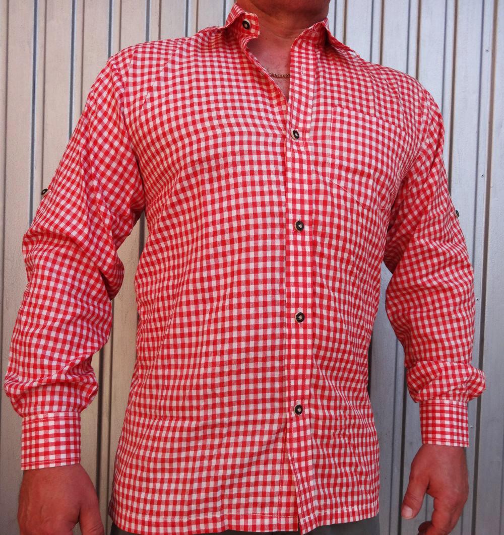 Herren Trachtenhemd rot Wiesn weiss kariert Grösse S M L XXL 3 XL 4 XL