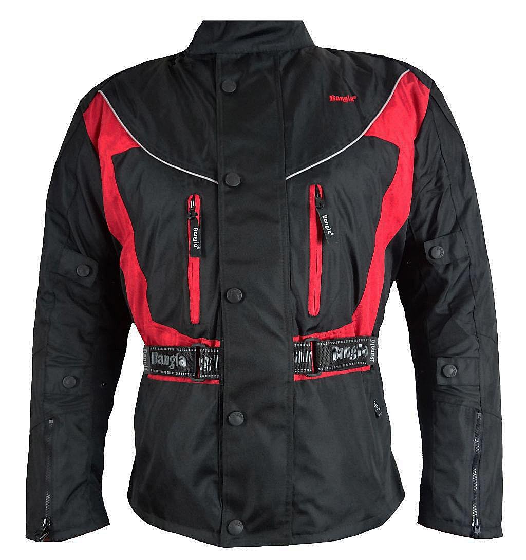 Bangla Motorrad Jacke Motorradjacke schwarz rot Textil Cordurajacke S - 6 XL