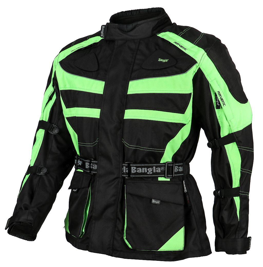 Bangla Motorradjacke Motorrad Jacke Textil Cordura Protektor schwarz grün M-6 XL