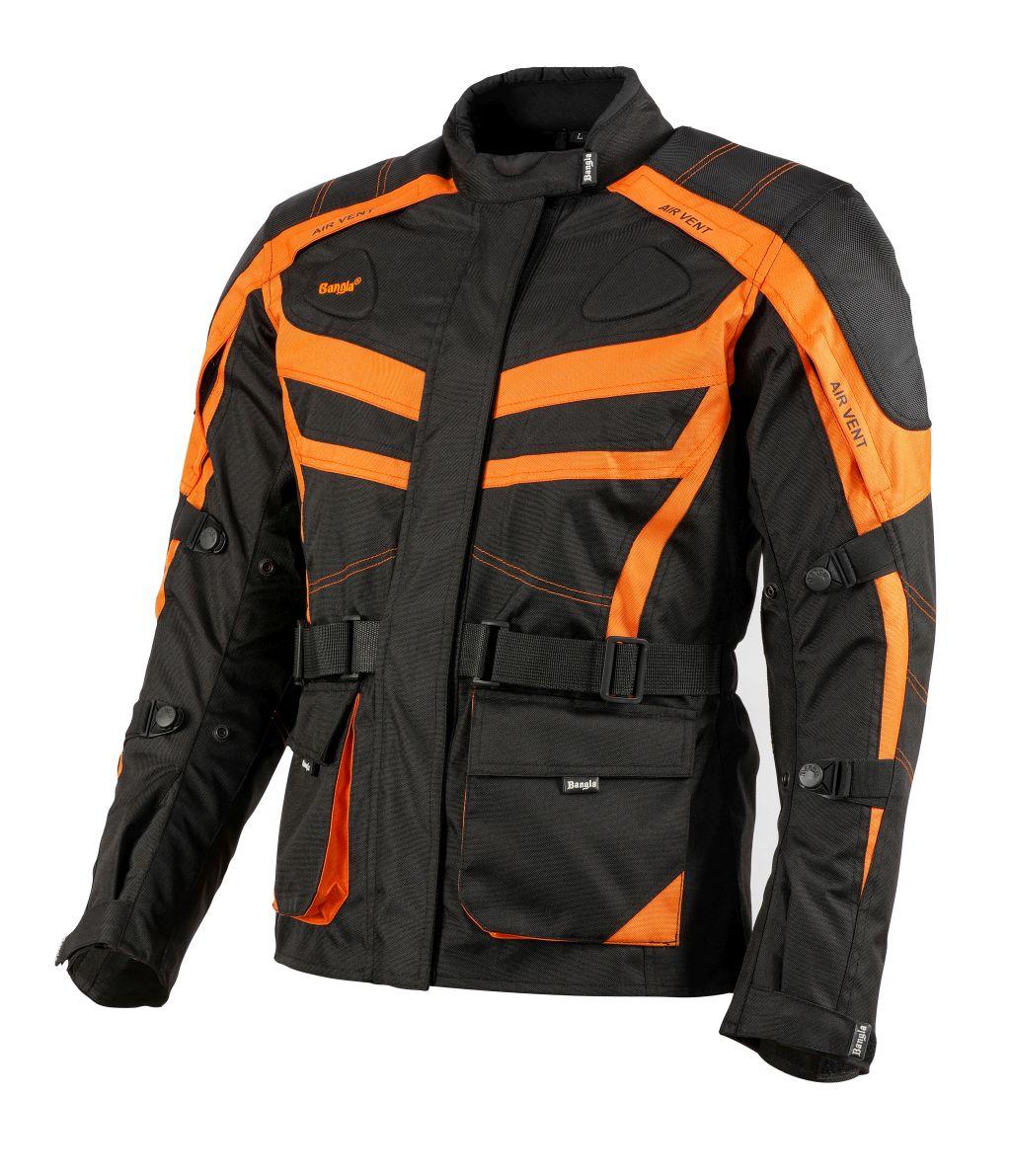 Bangla Damen Motorrad Textil Jacke Cordura Schwarz orange Motorradjacke S - XXXL