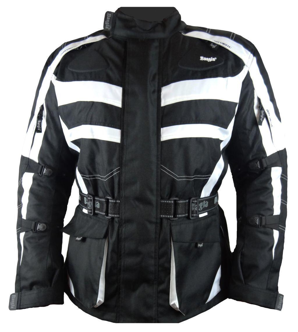 Bangla  Motorrad Textil Jacke Cordura schwarz weiss Motorradjacke M  - 6 XL 1152