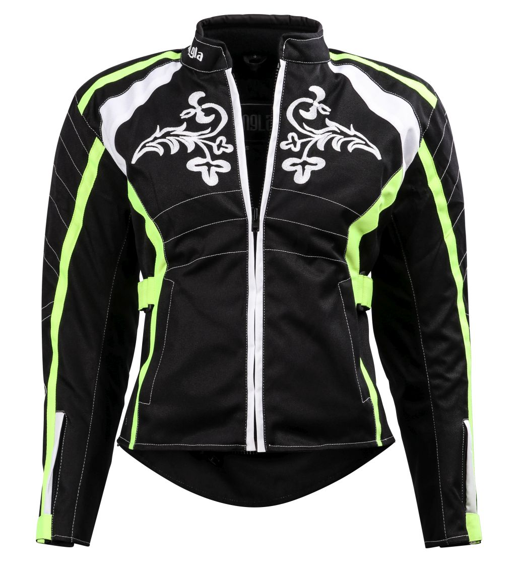 Bangla Damen Motorrad Jacke Motorradjacke Textil Schwarz Neon mit Tribal S - XL
