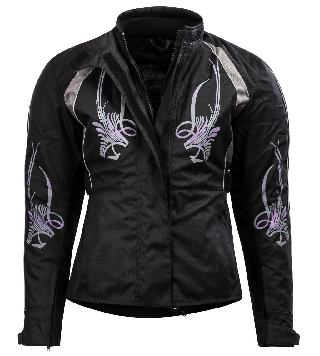Bangla Damen Motorrad Jacke Motorradjacke Textil Schwarz lila mit Tribal S M L