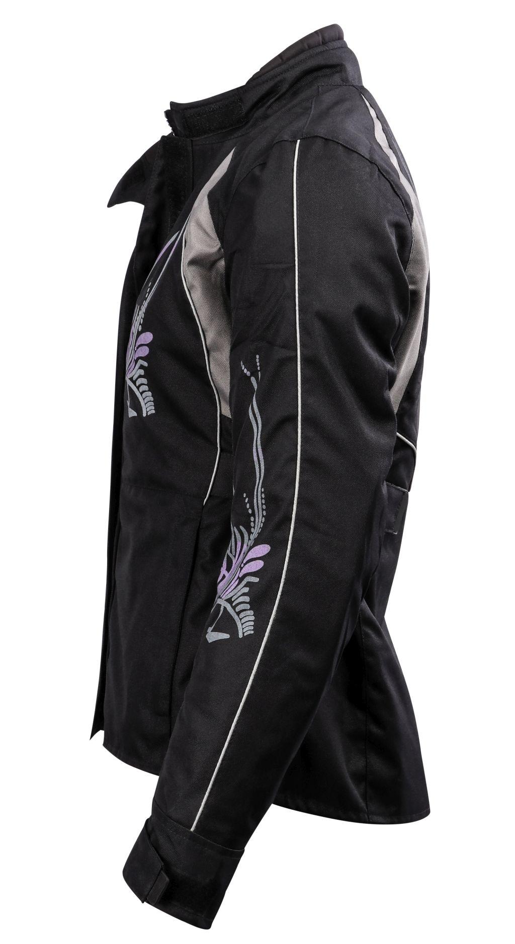 Bangla Damen Motorrad Jacke Motorradjacke Textil Schwarz lila mit Tribal S-XXXL