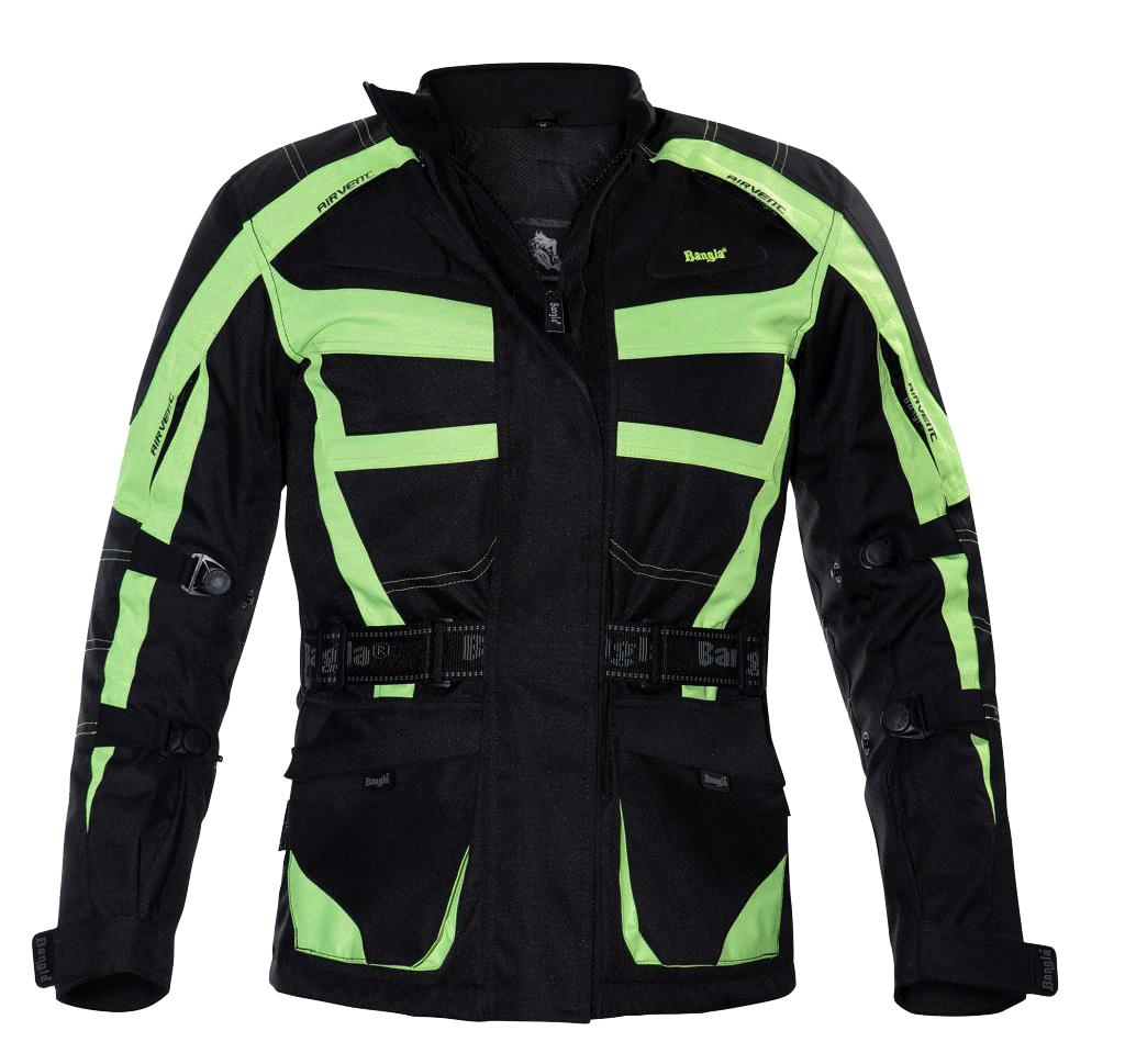Bangla Damen Motorrad Jacke Motorradjacke Textil Schwarz Neon Gelb S - XXXL