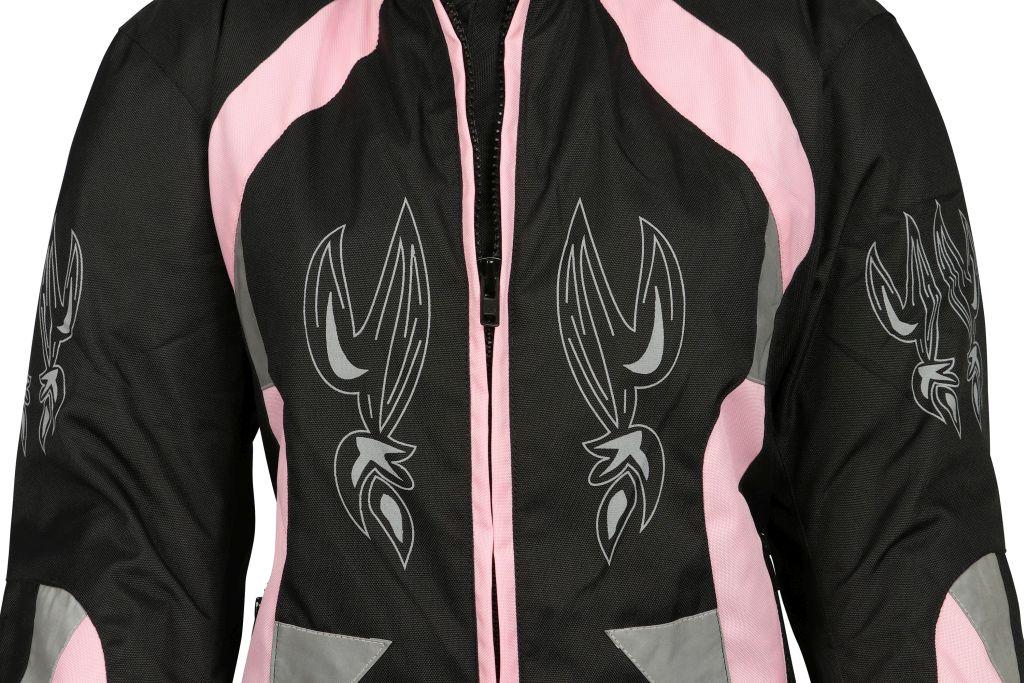 Damen Motorrad Jacke Motorradjacke Pink Schwarz mit Tribal S M L XL
