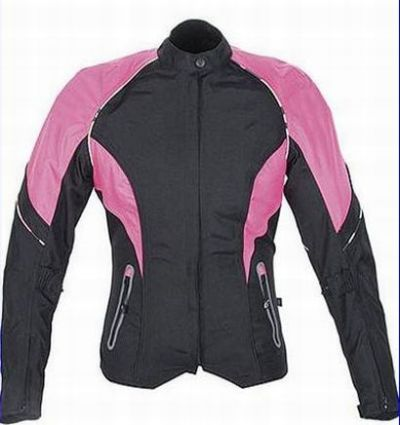 Damen Motorrad Jacke Cordura Touren Kurz Schwarz/Pink M L XL XXL