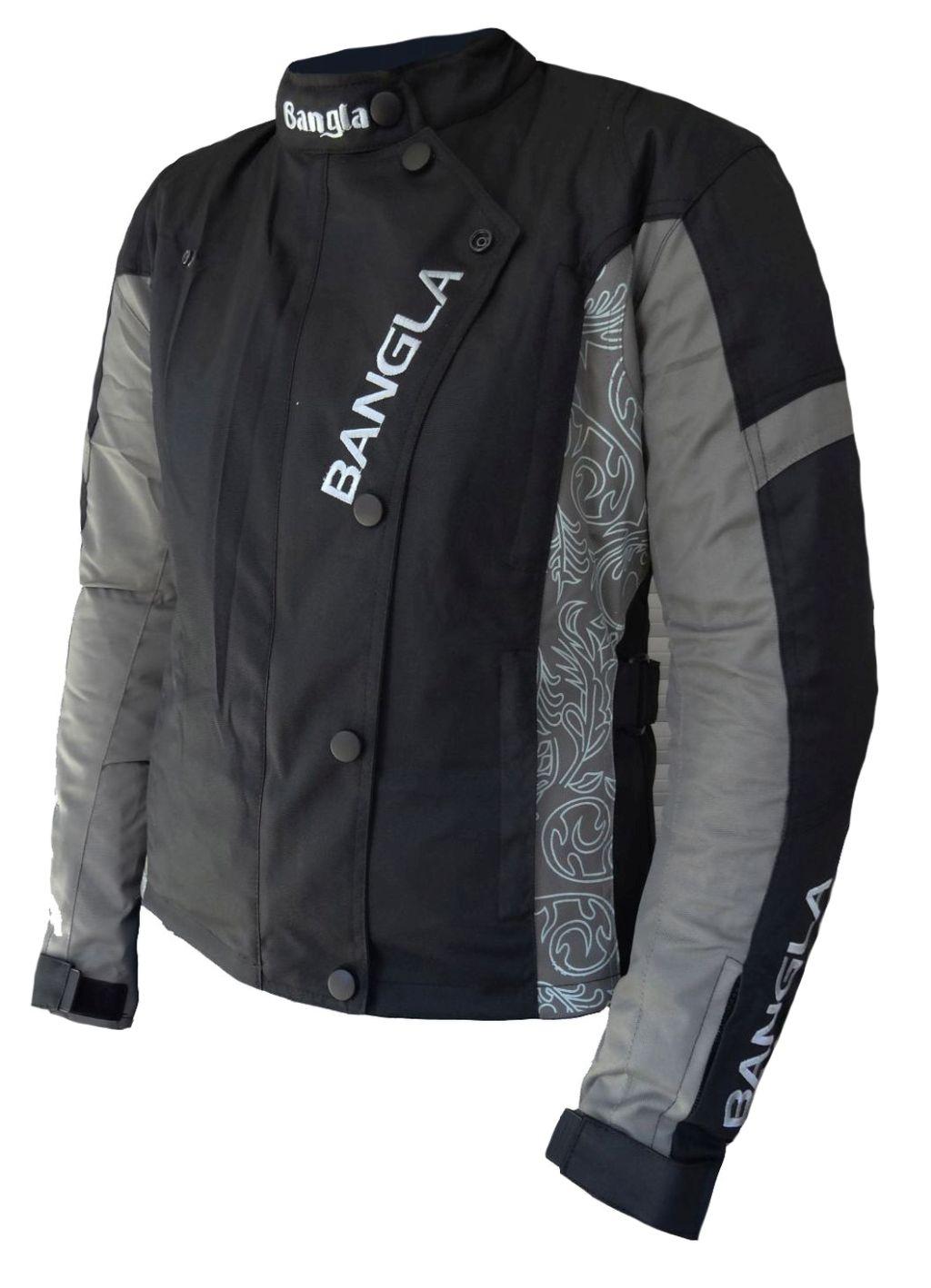 Damen Motorrad Jacke mit Muster Motorradjacke Tourenjacke Schwarz Grau S M L XL