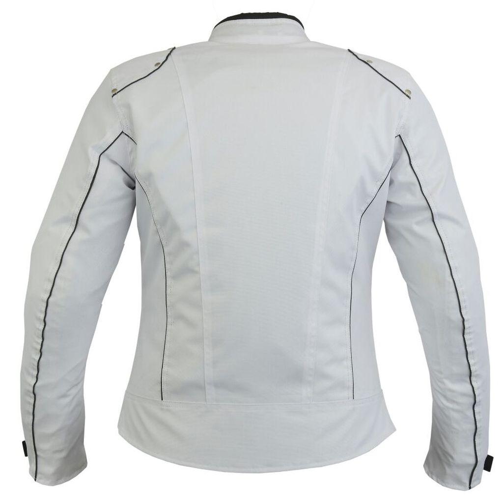 Bangla Damen Motorrad Jacke Textil Motorradjacke Weiß kurz S M L XL XXL XXXL