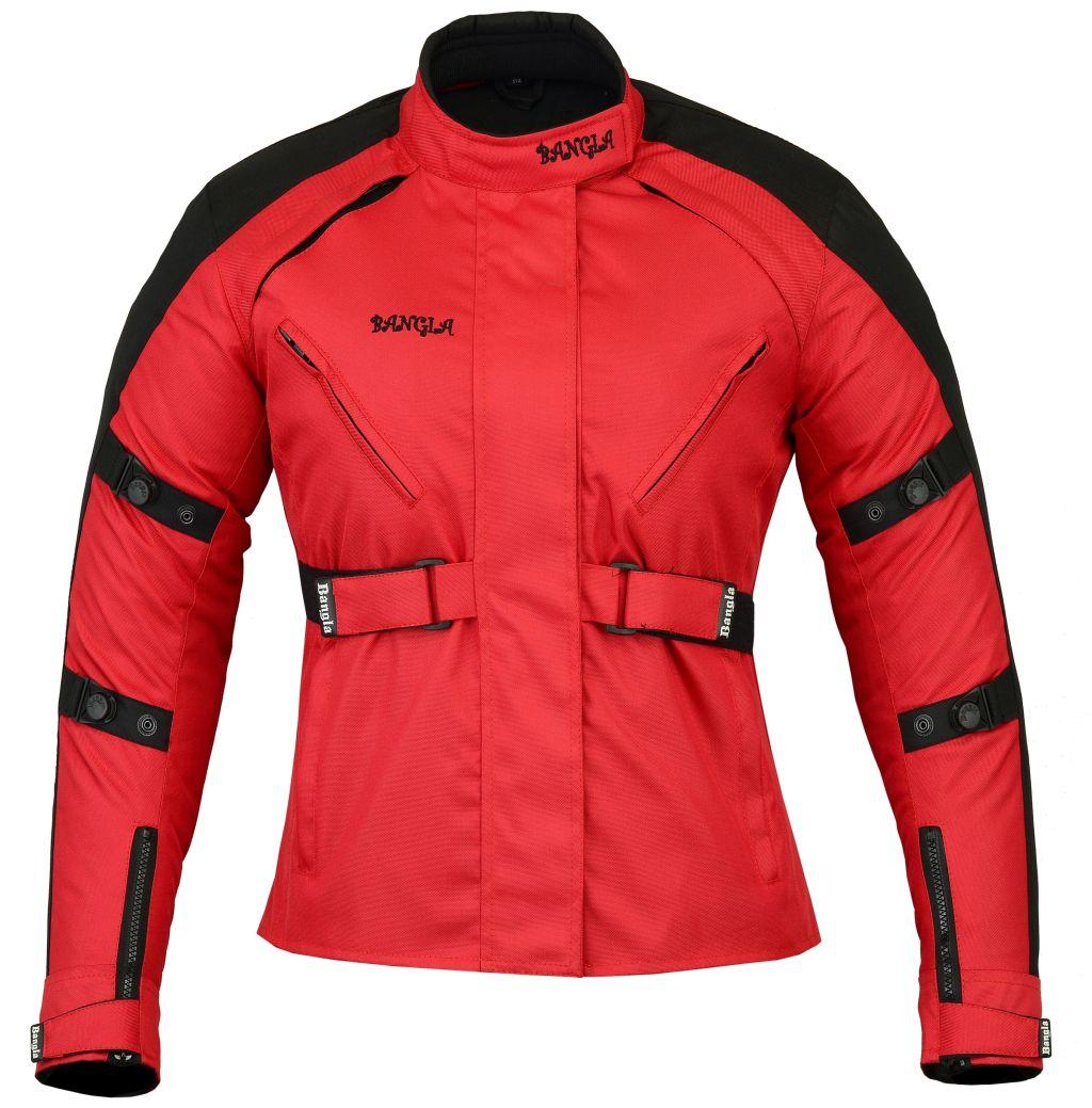 Bangla Damen Motorrad Jacke Motorradjacke Tourenjacke Rot Schwarz S - XXXL