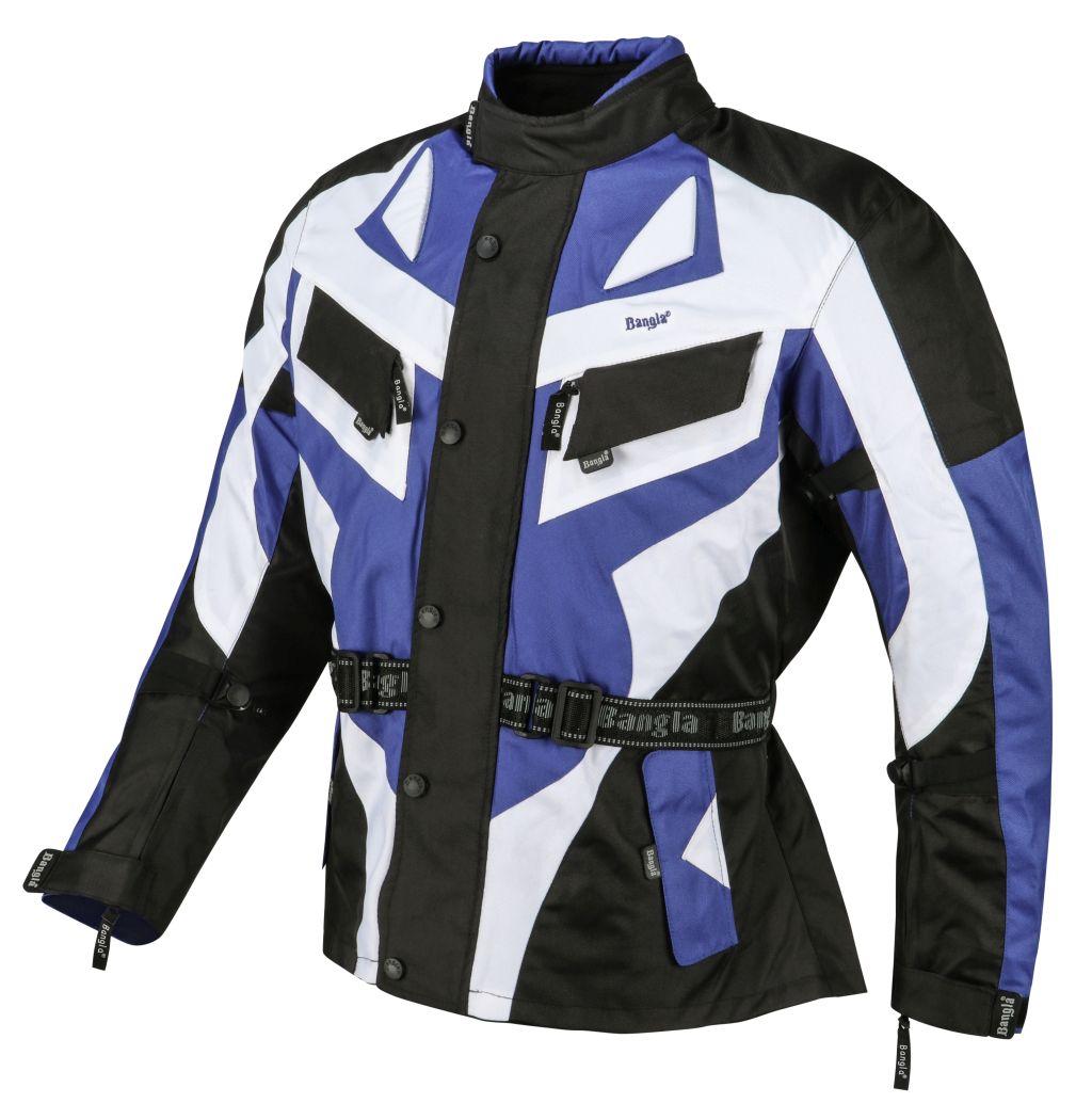 Bangla Motorrad Jacke Motorradjacke Textil Cordura blau schwarz weiss M - 6 XL