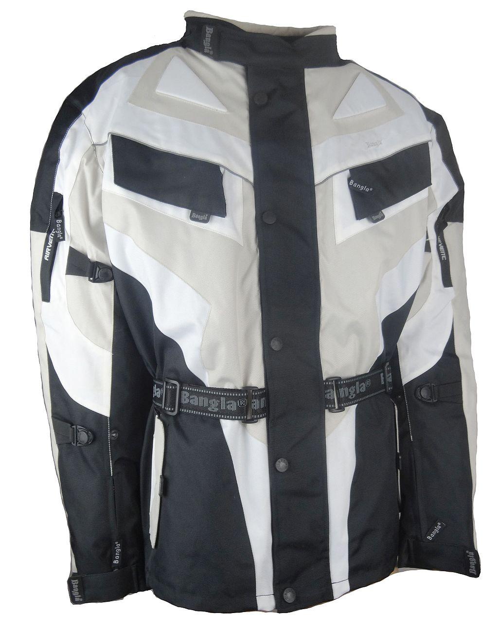 Bangla Motorrad Jacke Motorradjacke Textil Cordura beige schwarz weiss 5 - 8 XL